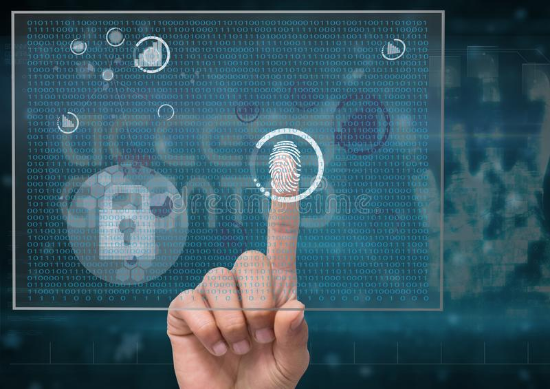 identifiera med fingeravtryck bildläsningen i en futuristisk skärm, endast finger royaltyfri illustrationer