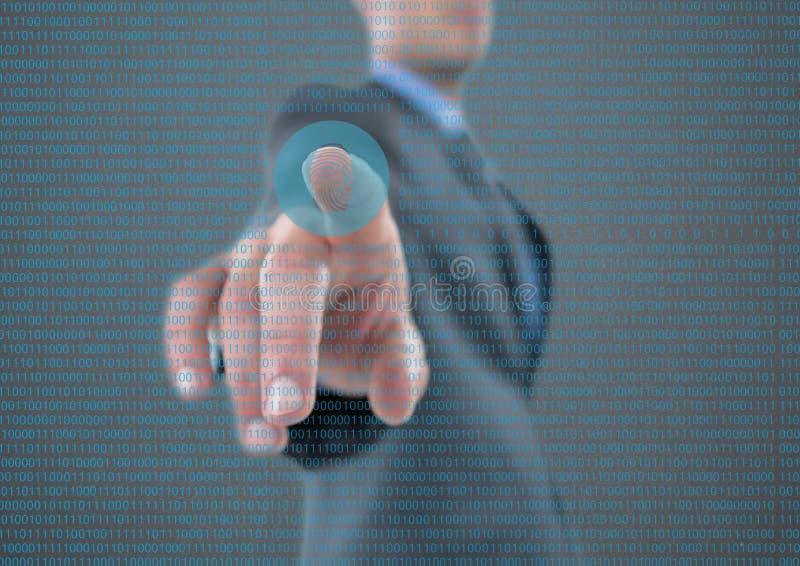 identifiera med fingeravtryck bildläsningen i mitt av bilden, med binär kod stock illustrationer