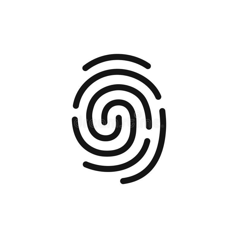 Identifiera med fingeravtryck den enkla svarta symbolen, legitimationssymbolet, linjen stilvektorillustration vektor illustrationer