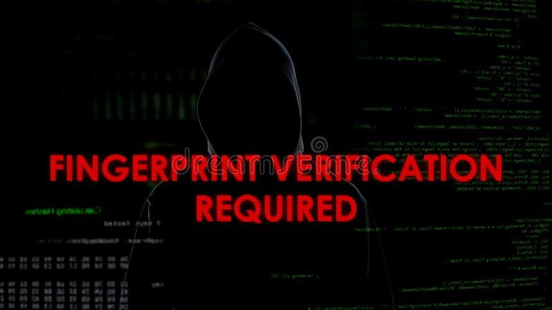 Identifiera med fingeravtryck den krävda verifikationen, mislyckat dataintrångförsök på konto arkivbild