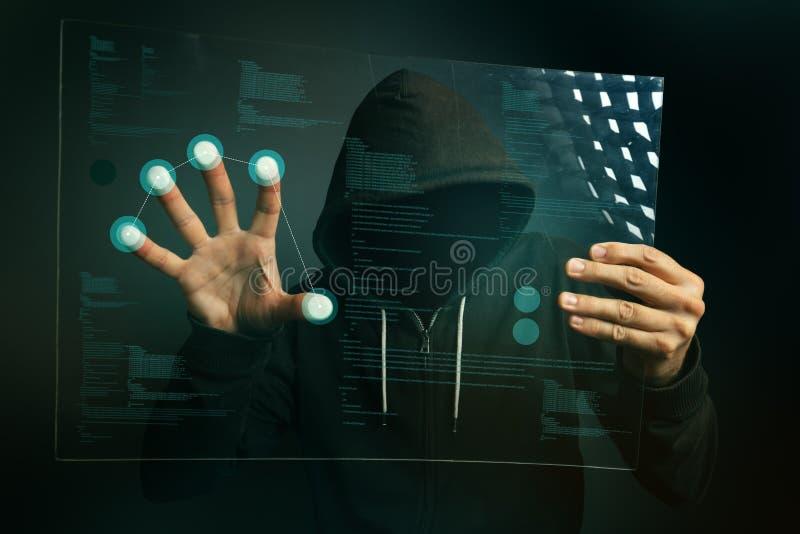 Identifiera med fingeravtryck ID app på futuristisk minnestavladatorbärare royaltyfri bild