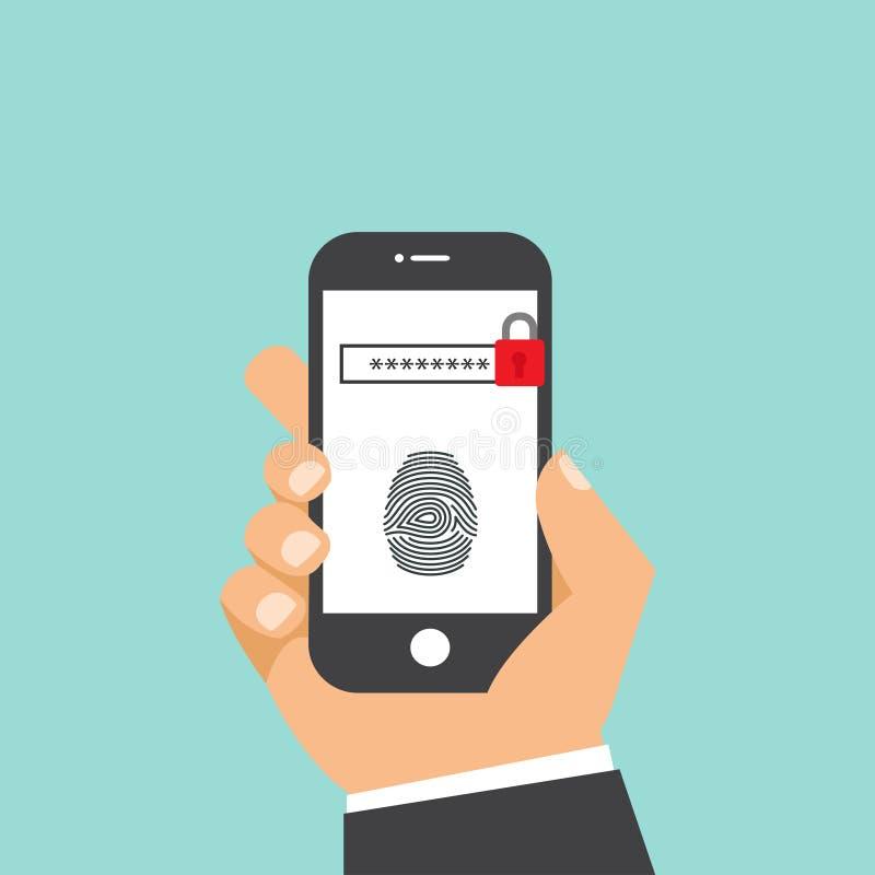 Identifiera med fingeravtryck ID eller legitimation på smartphonen som isoleras på vit bakgrund också vektor för coreldrawillustr stock illustrationer