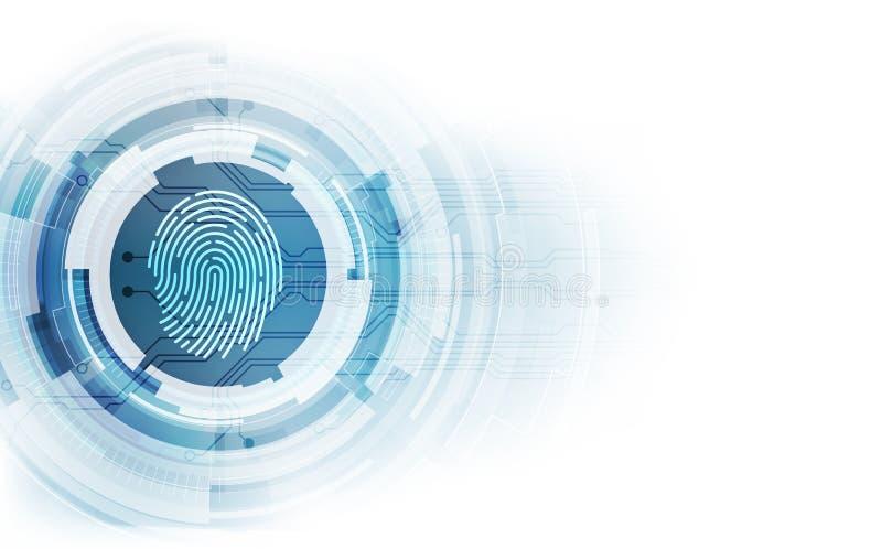 Identifiera med fingeravtryck inbyggt i en utskrivaven strömkrets som släpper binära koder begrepp för säkerhet för system för fi royaltyfri illustrationer