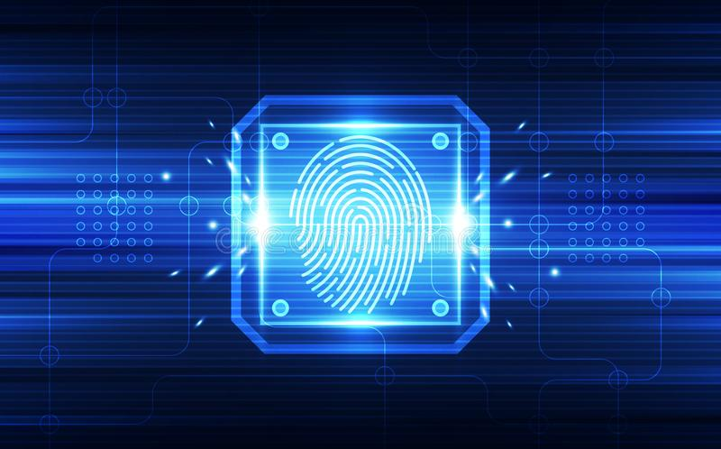 Identifiera med fingeravtryck inbyggt i en utskrivaven strömkrets som släpper binära koder System för fingeravtryckscanningID Bio stock illustrationer