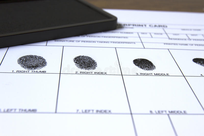 Identifiera med fingeravtryck kortet royaltyfria bilder