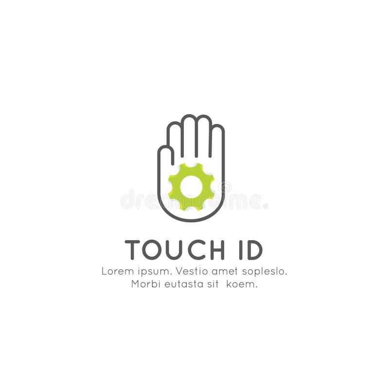 Identifiera med fingeravtryck legitimationen, inloggningen, erkännande som låser en apparat upp stock illustrationer
