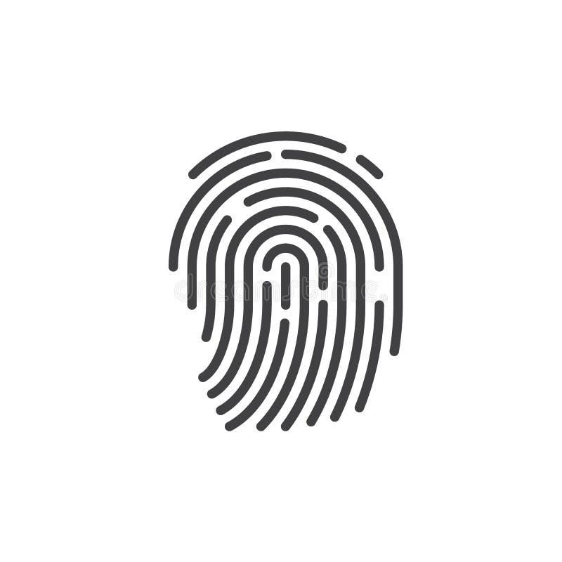 Identifiera med fingeravtryck linjen symbolen, översiktsvektortecknet, den linjära stilpictogramen som isoleras på vit royaltyfri illustrationer