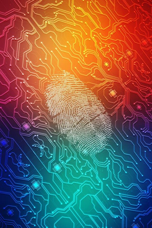 Identifiera med fingeravtryck scanningen på den digitala skärmen, säkerhetsbakgrund stock illustrationer