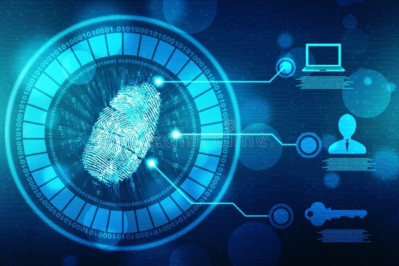 Identifiera med fingeravtryck scanningen på den digitala skärmen, säkerhetsbakgrund royaltyfri illustrationer