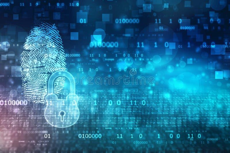 Identifiera med fingeravtryck scanningIDsystemet, det digitala säkerhetssystemet med fingeravtrycket och låset stock illustrationer