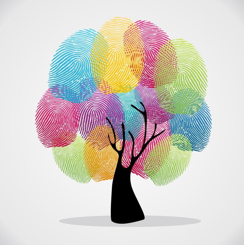Identifierar med fingeravtryck mångfaldträdet stock illustrationer