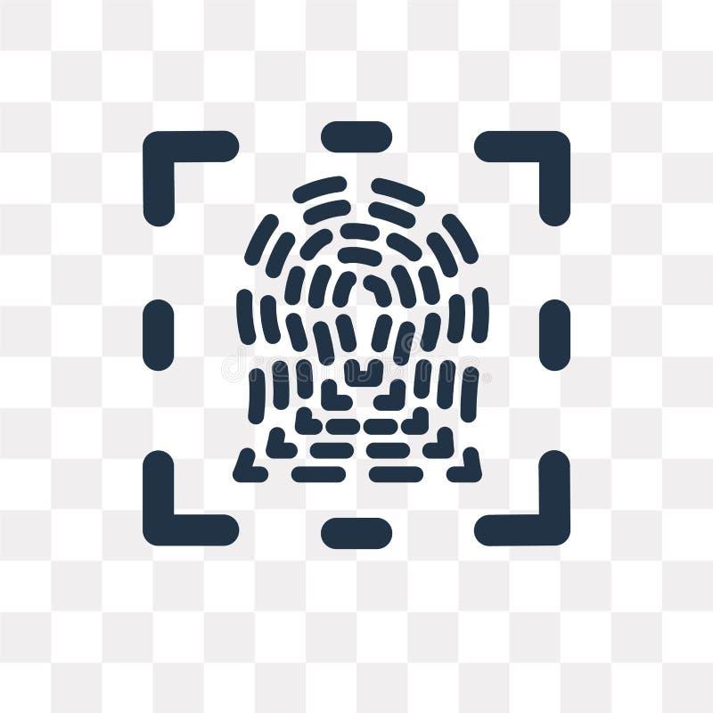 Identifierar med fingeravtryck vektorsymbolen som isoleras på genomskinlig bakgrund, Fi stock illustrationer
