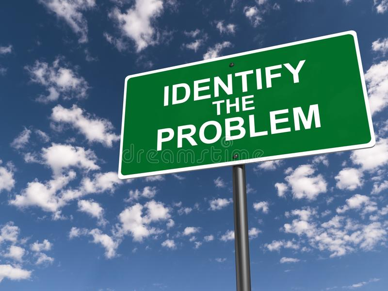 Identifique o sinal de estrada do problema imagens de stock royalty free