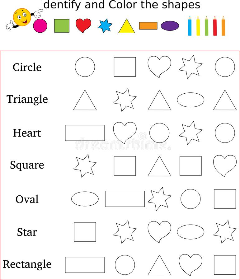 Identify And Color The Correct Shape Worksheet Stock ...