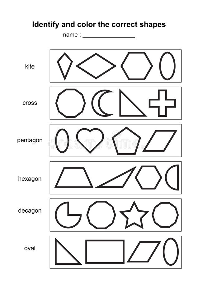 Identify and color the correct shapes. educational geometric shapes game. printable learning material for kids . black and white p royalty free illustration
