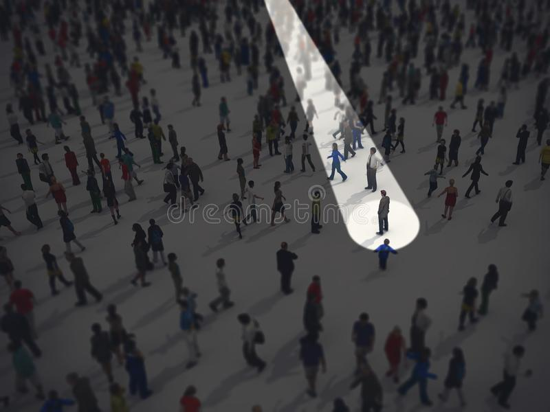Identify in the crowd. 3D Rendering. Bright cone identifies a person in the mass. 3D Rendering vector illustration