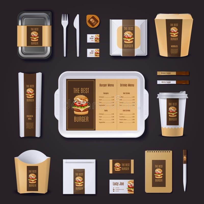 Identità corporativa di Antivari dell'hamburger illustrazione di stock
