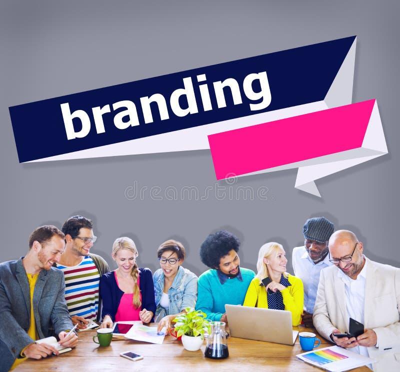 Identitäts-Werbeaufkleber-Konzept des Branding-Marken-eingetragenen Warenzeichens stockfotografie