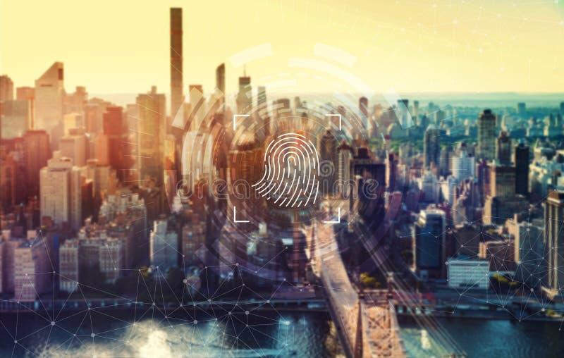 Identité biométrique d'empreinte digitale avec New York City image stock