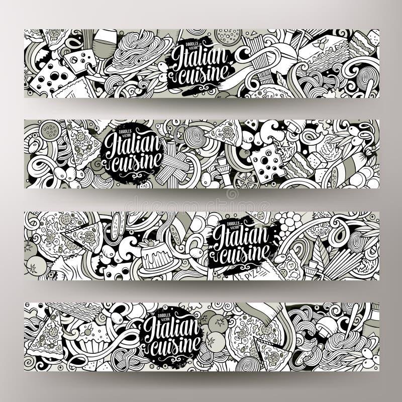 Identité d'entreprise de vecteur de bande dessinée de nourriture italienne tirée par la main peu précise mignonne de griffonnages illustration stock