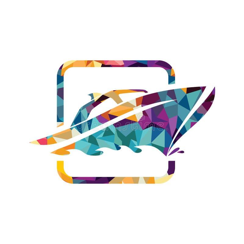 Identité de marque de calibre de logo de bateau de yacht de bateau pour des affaires de canotage illustration stock