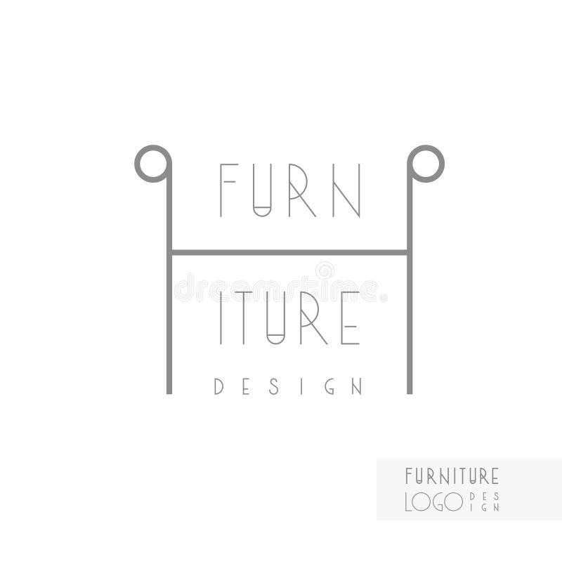 Identité de marque de dessinateur d'intérieurs Ligne logo de chaise Calibre de carte de visite professionnelle de visite inclus illustration stock