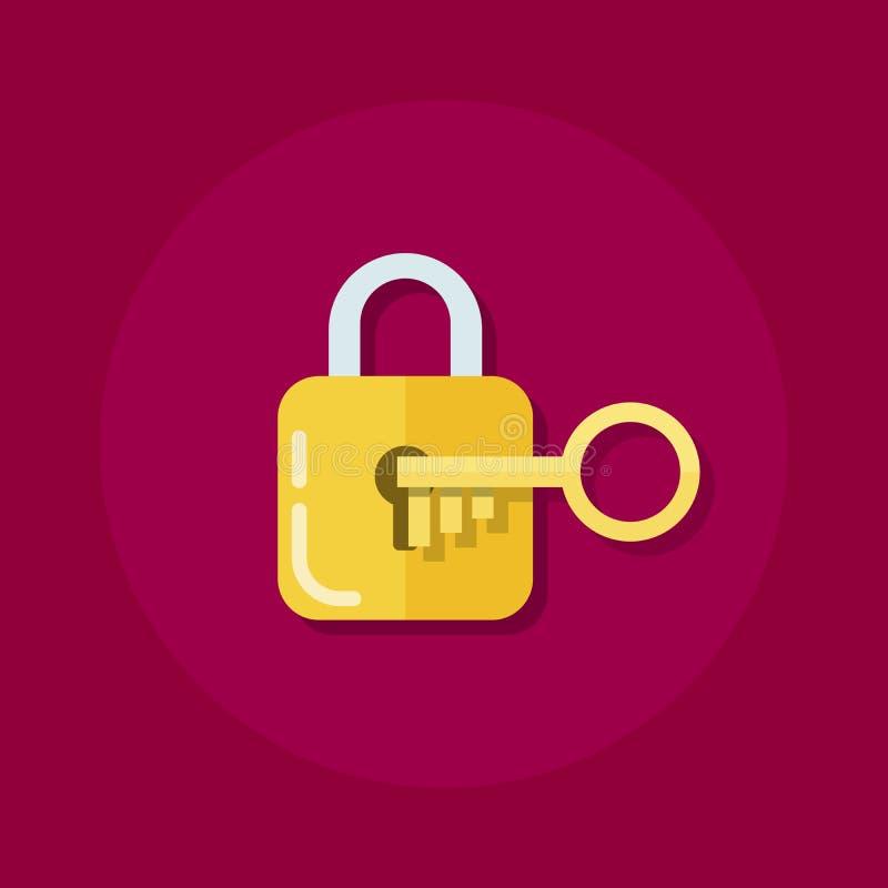Identiteit of openings van een sessiepictogram Hangslot met een sleutel in een vlakke stijl Het proces om het slot te openen Vlak vector illustratie