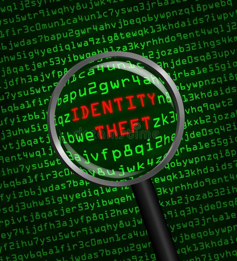 Identiteitsdiefstal in computercode door vergrootglas wordt geopenbaard dat royalty-vrije illustratie