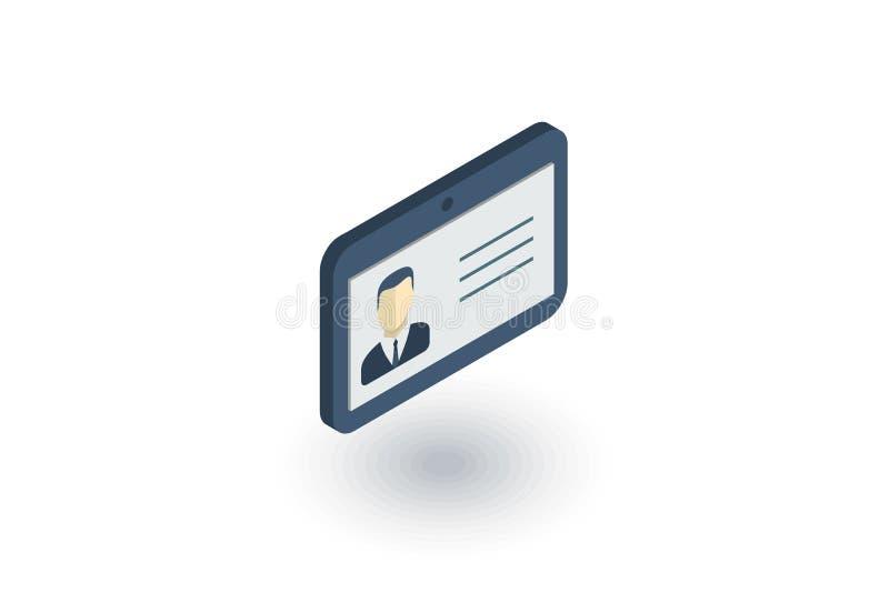 Identiteitskaart, de vergunning van de autoaandrijving, het isometrische vlakke pictogram van de identiteitspas 3d vector vector illustratie