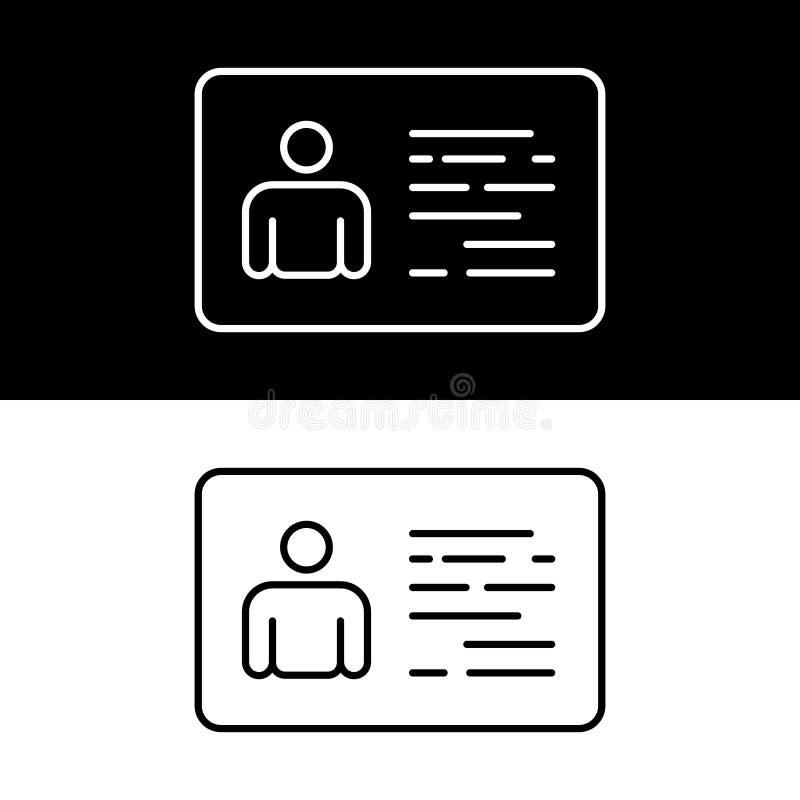 Identiteitskaart en Identificatiekaart Zaken identiteit Vectorillustraation vector illustratie