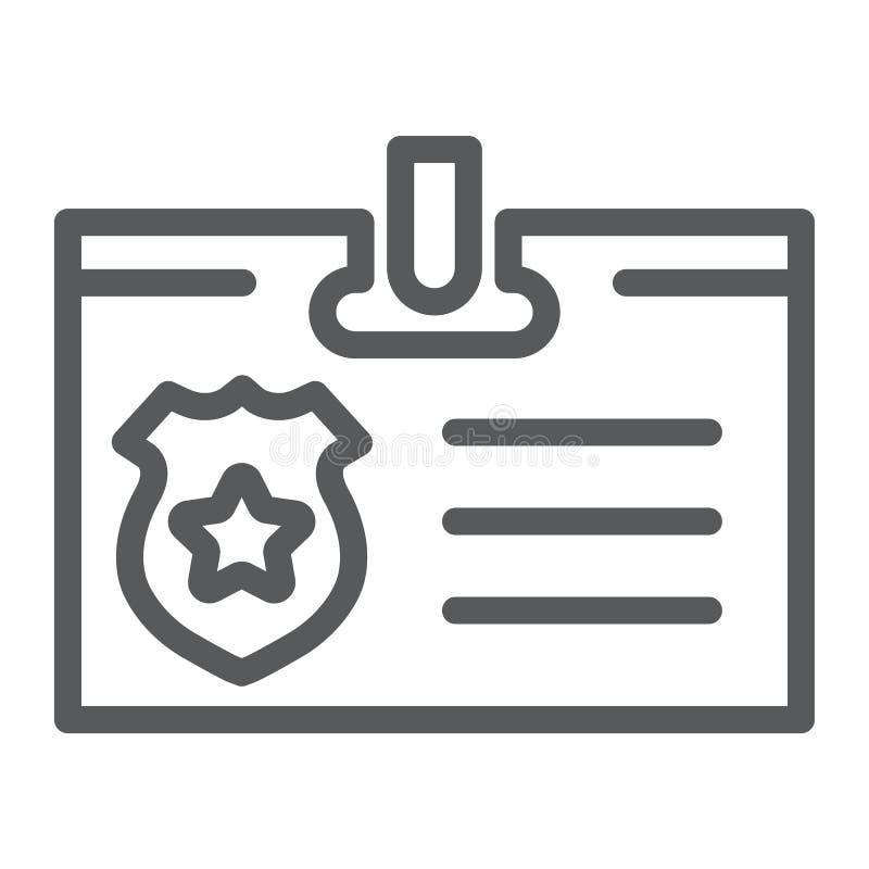 Identiteitskaart-het pictogram van de kaartlijn, identiteit en identificatie, persoonlijk kentekenteken, vectorafbeeldingen, een  royalty-vrije illustratie