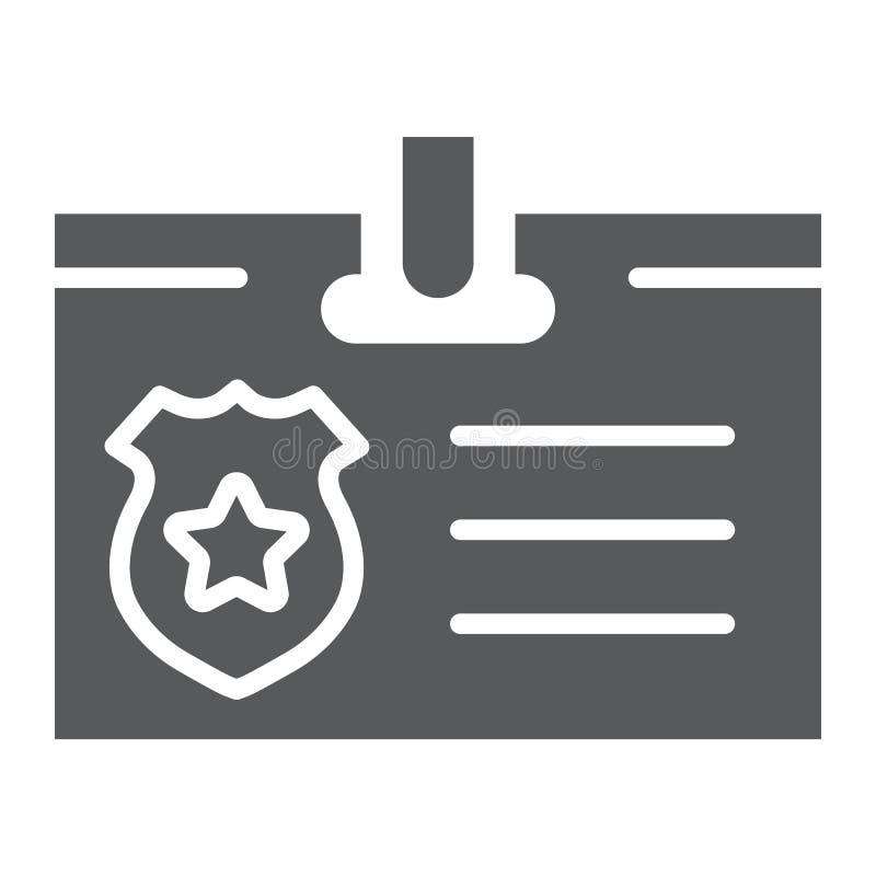 Identiteitskaart-kaart glyph pictogram, identiteit en identificatie, persoonlijk kentekenteken, vectorafbeeldingen, een stevig pa royalty-vrije illustratie
