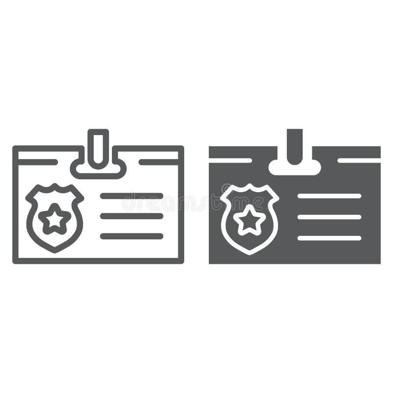 Identiteitskaart-kaartlijn en glyph pictogram, identiteit en identificatie, persoonlijk kentekenteken, vectorafbeeldingen, een li stock illustratie