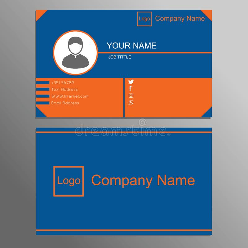Identiteitskaart op blauwe en oranje achtergrond 0001 vector illustratie