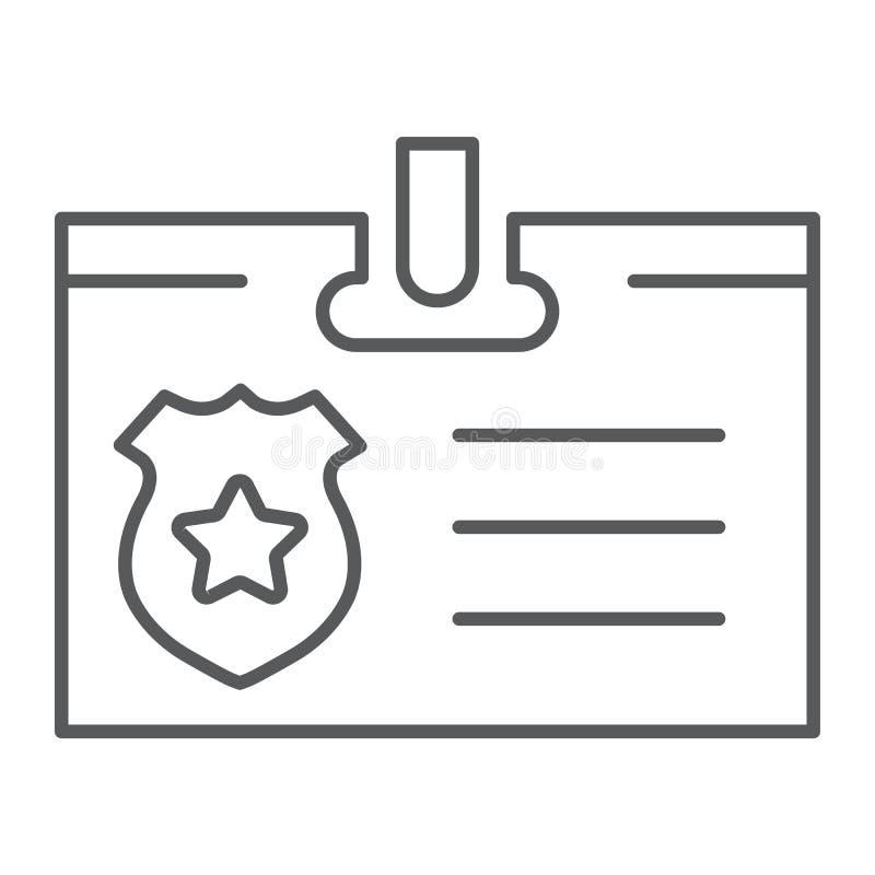 Identiteitskaart-pictogram van de kaart het dunne lijn, identiteit en identificatie, persoonlijk kentekenteken, vectorafbeeldinge vector illustratie
