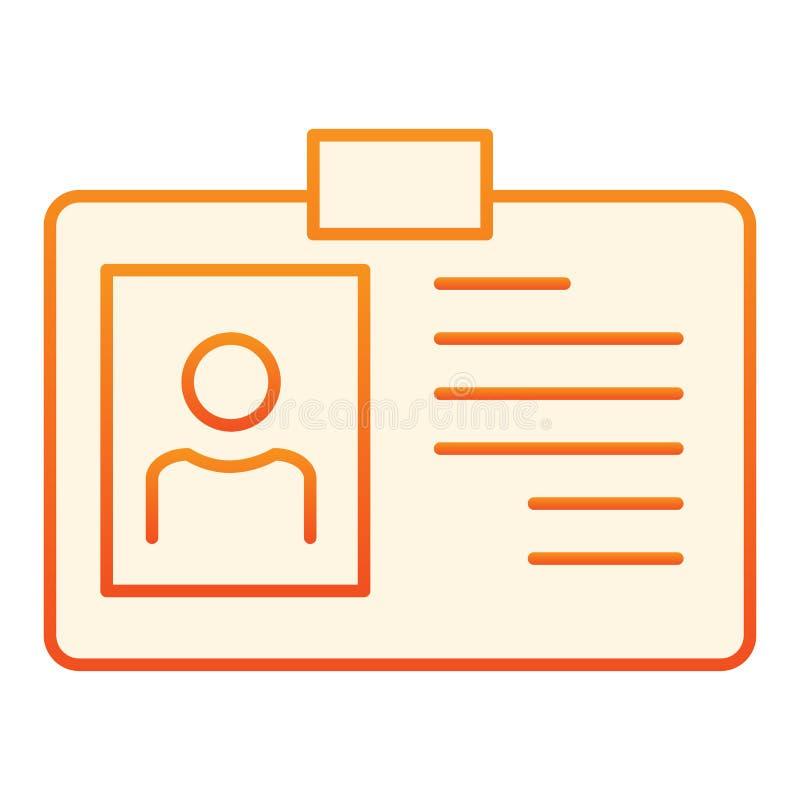Identiteitskaart vlak pictogram Identiteitskaart oranje pictogrammen in in vlakke stijl De stijlontwerp van de kentekengradi?nt,  royalty-vrije illustratie