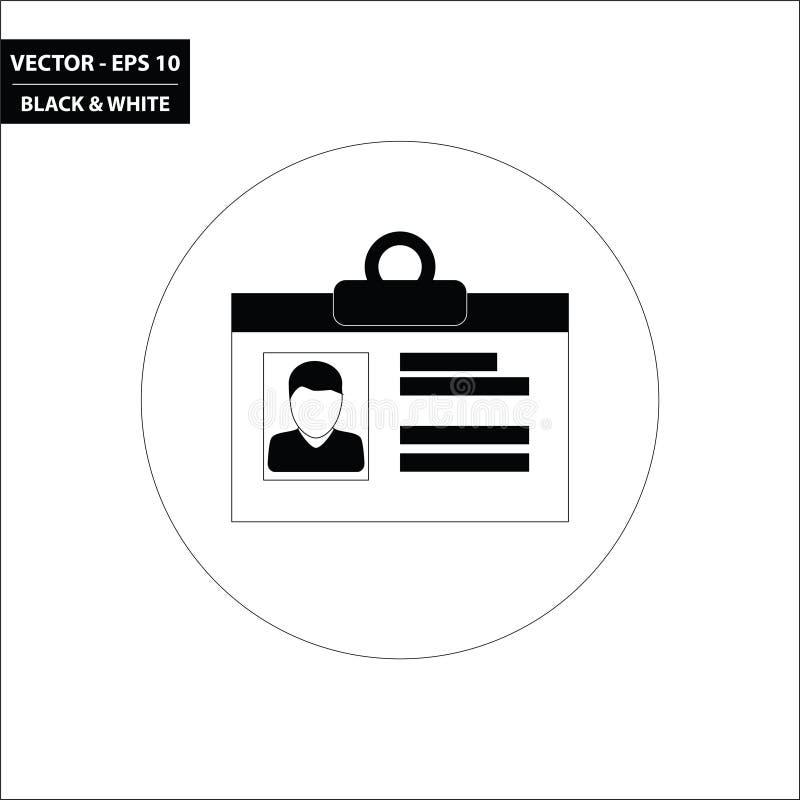 Identiteitskaart zwart-wit vlak pictogram royalty-vrije illustratie