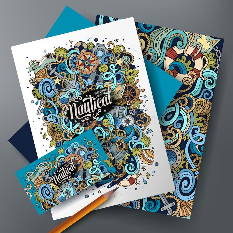 Identitet för nautiskt klotter för tecknad filmvektor företags vektor illustrationer