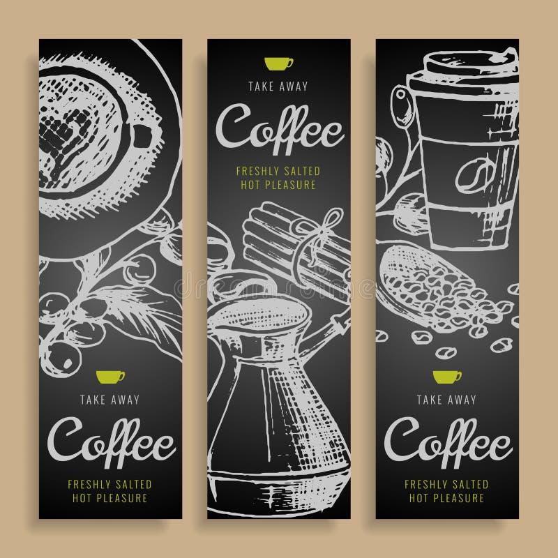 Identitet för utdraget kaffe för klotter för tecknad filmvektorhand företags Vertikal design för banermenykafé Uppsättning för ma stock illustrationer