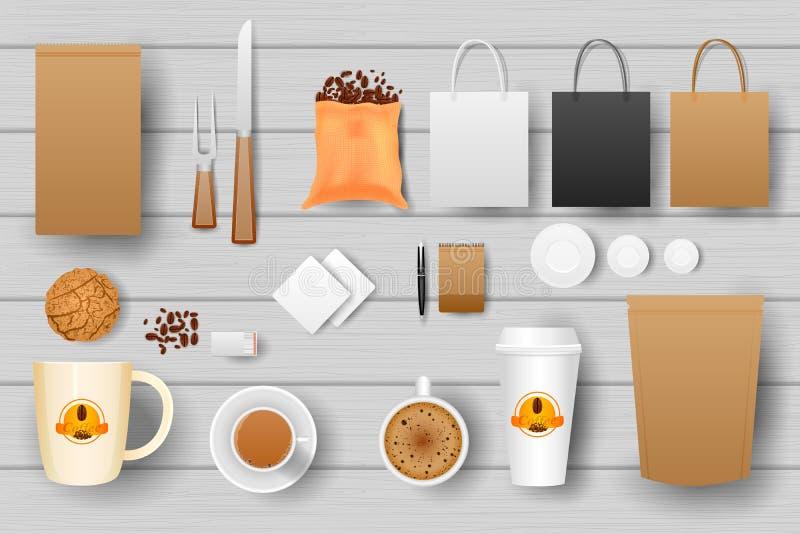 Identitet som brännmärker modellen för kaffe royaltyfri illustrationer