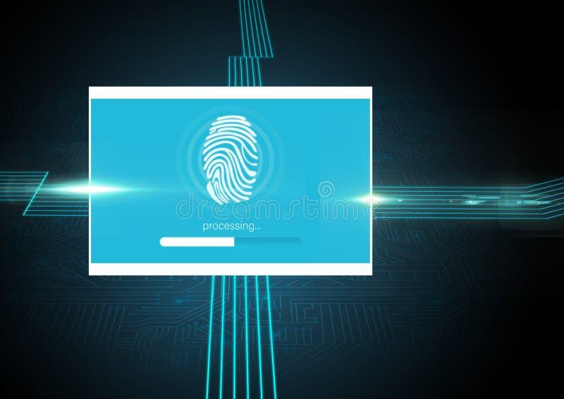 Identiteten verifierar fingeravtryckApp-manöverenheten vektor illustrationer