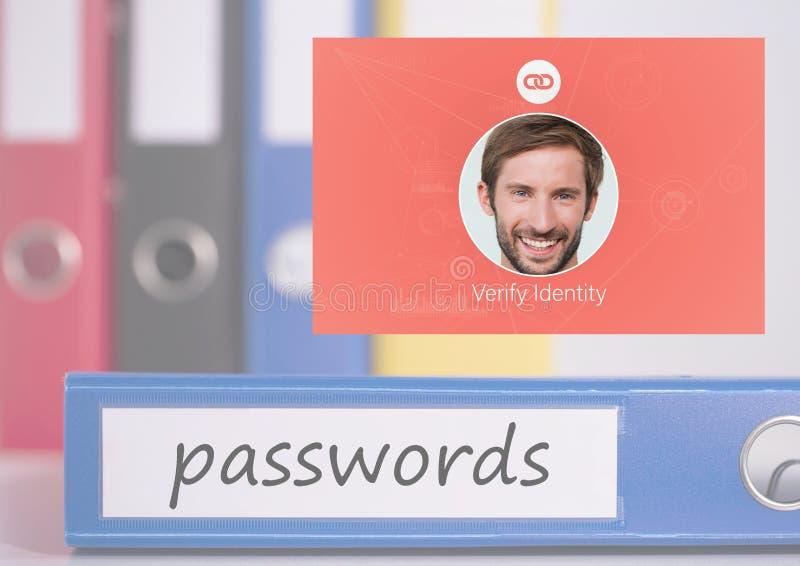 Identiteten verifierar lösenordApp-manöverenheten royaltyfria foton