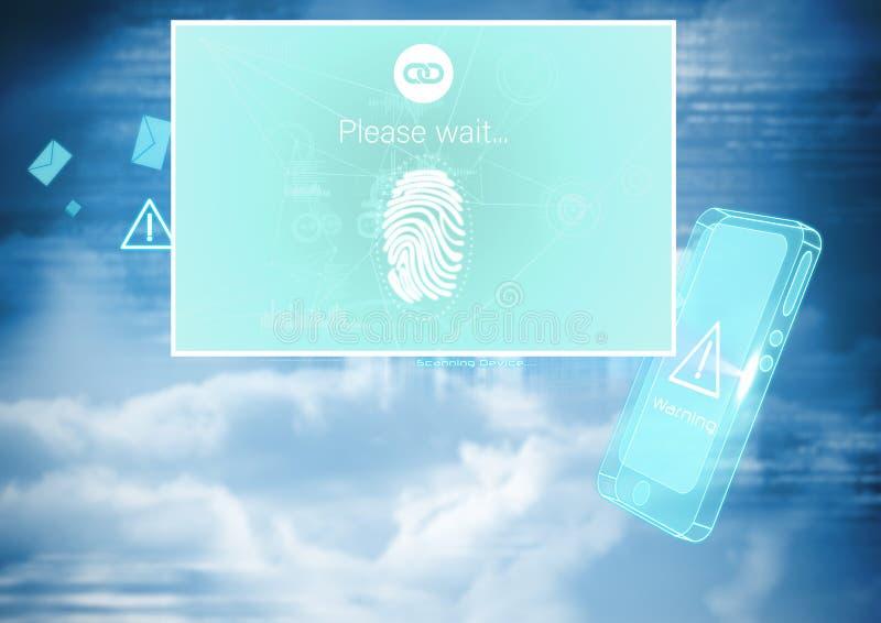 Identiteten verifierar manöverenheten för fingeravtryckmobilApp vektor illustrationer