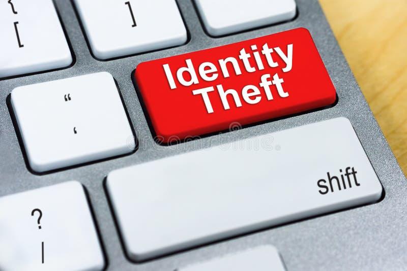 Identitetsstöld för skriftligt ord på den röda tangentbordknappen Online-Prote royaltyfria foton