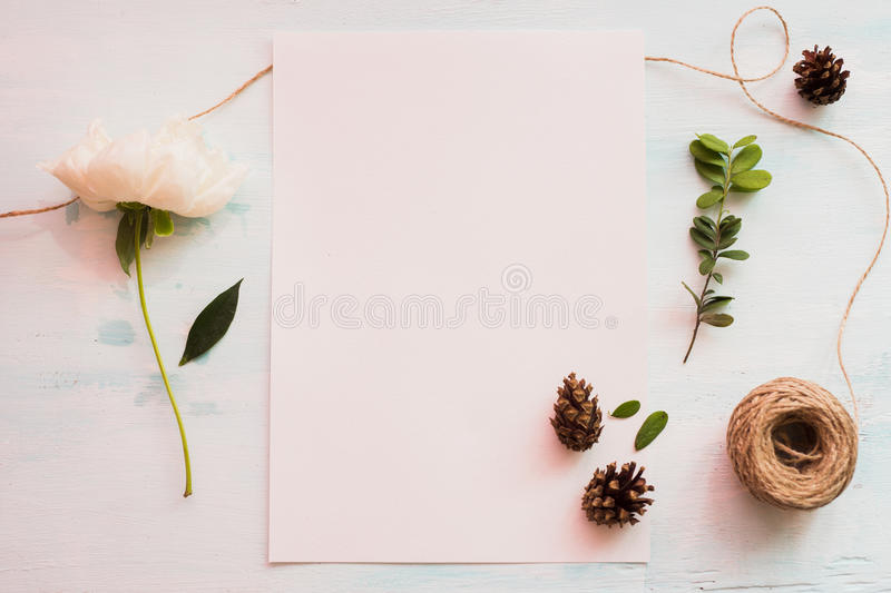 Identity and craft mockup set with retro filter effect. Cute vintage mock up on wooden background royalty free stock photo