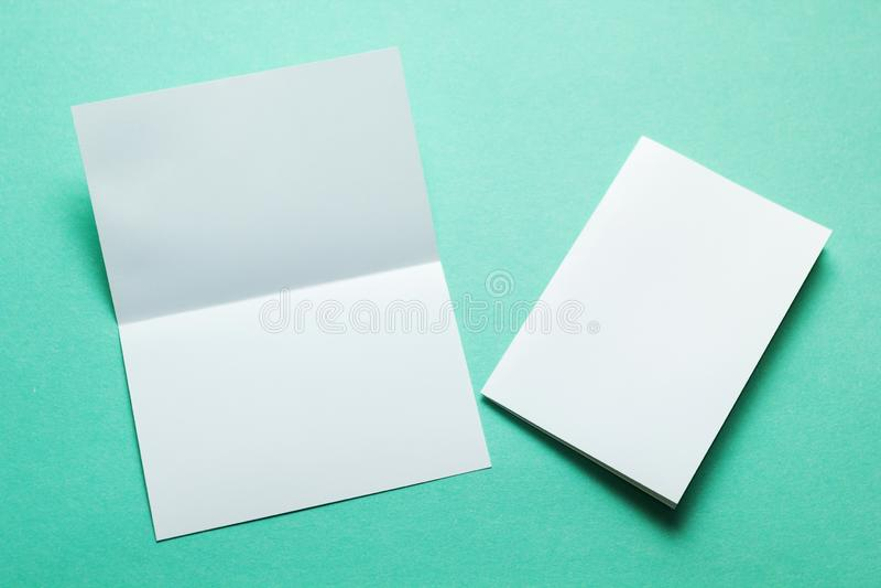 Identity design, corporate templates, company style, blank white folding paper flyer, mock-up.  stock image