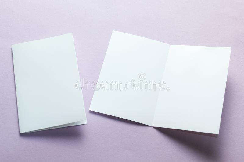 Identity design, corporate templates, company style, set of booklets, blank white folding paper flyer on a purple background.  royalty free stock photo