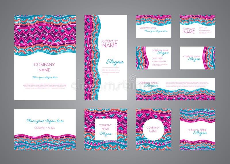 Identity design vector template set. Purple, orange and blue mosaic ornaments stock illustration