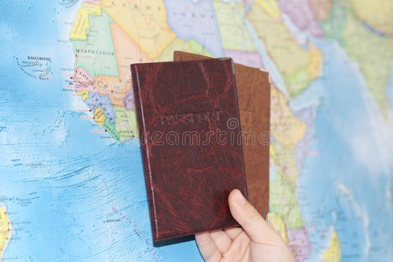 Identity document on the background of a geographical map royalty free stock image