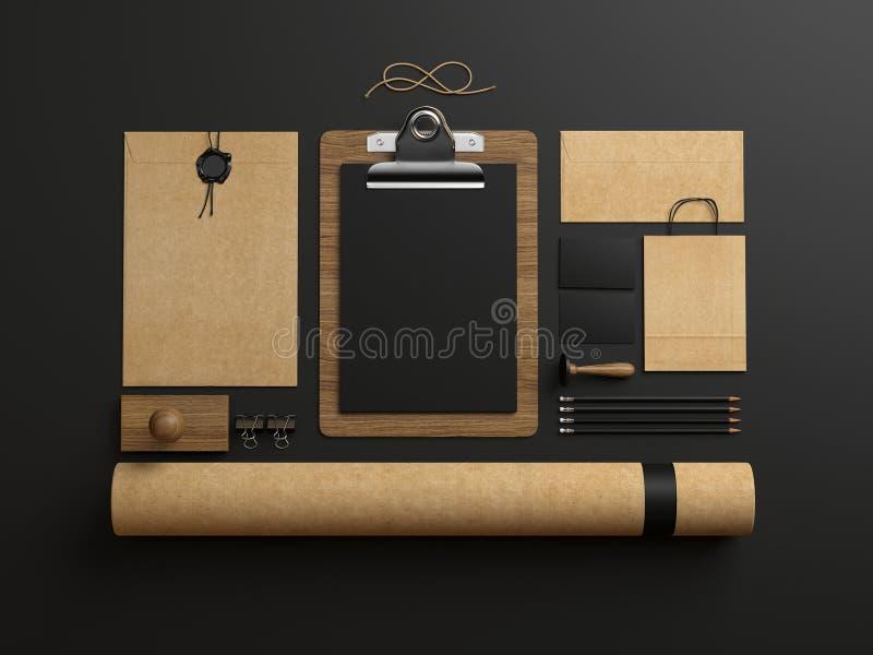 Identity elements on dark paper background. Set of stationery elements on paper background stock illustration